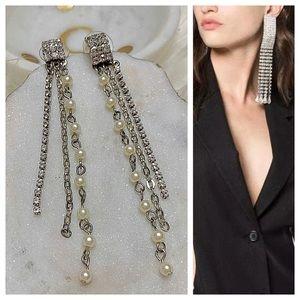 Jewelry - Crystal pearl fringe statement chandelier earrings